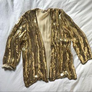 Vintage Judith Ann 1970s Gold Sequin Jacket